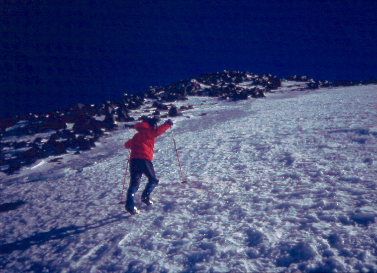 K. Cooney climbing up toward the East Elbrus Summit